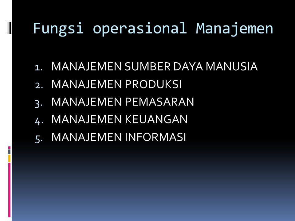 Fungsi operasional Manajemen 1. MANAJEMEN SUMBER DAYA MANUSIA 2. MANAJEMEN PRODUKSI 3. MANAJEMEN PEMASARAN 4. MANAJEMEN KEUANGAN 5. MANAJEMEN INFORMAS