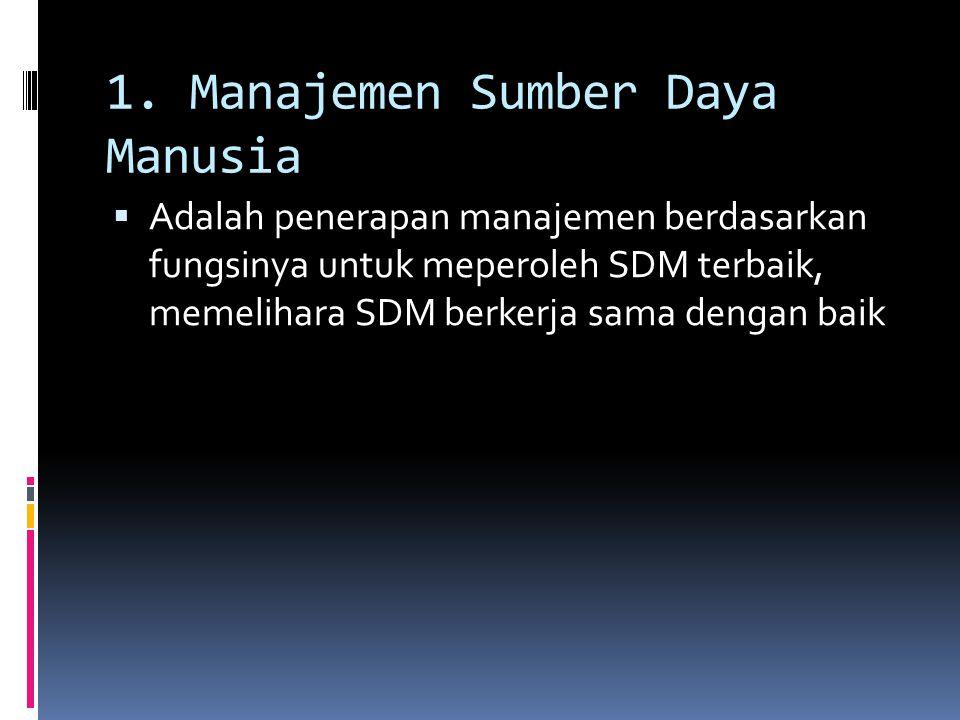 1. Manajemen Sumber Daya Manusia  Adalah penerapan manajemen berdasarkan fungsinya untuk meperoleh SDM terbaik, memelihara SDM berkerja sama dengan b