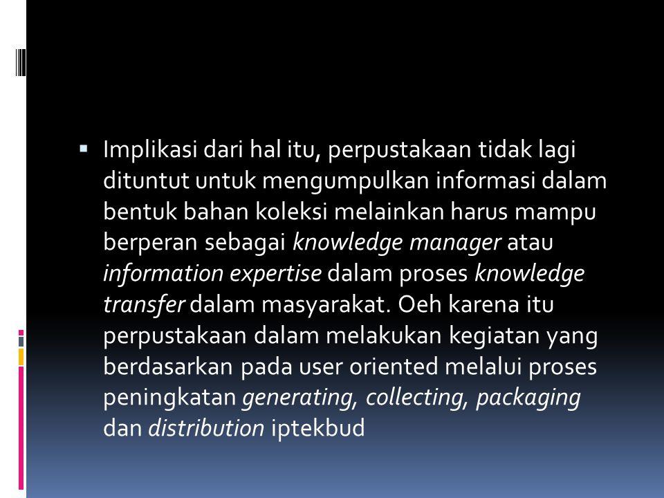  Implikasi dari hal itu, perpustakaan tidak lagi dituntut untuk mengumpulkan informasi dalam bentuk bahan koleksi melainkan harus mampu berperan seba