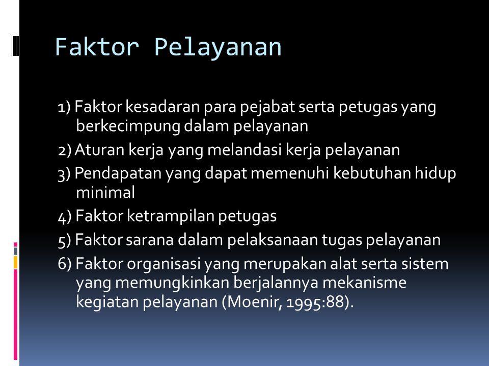 Faktor Pelayanan 1) Faktor kesadaran para pejabat serta petugas yang berkecimpung dalam pelayanan 2) Aturan kerja yang melandasi kerja pelayanan 3) Pe