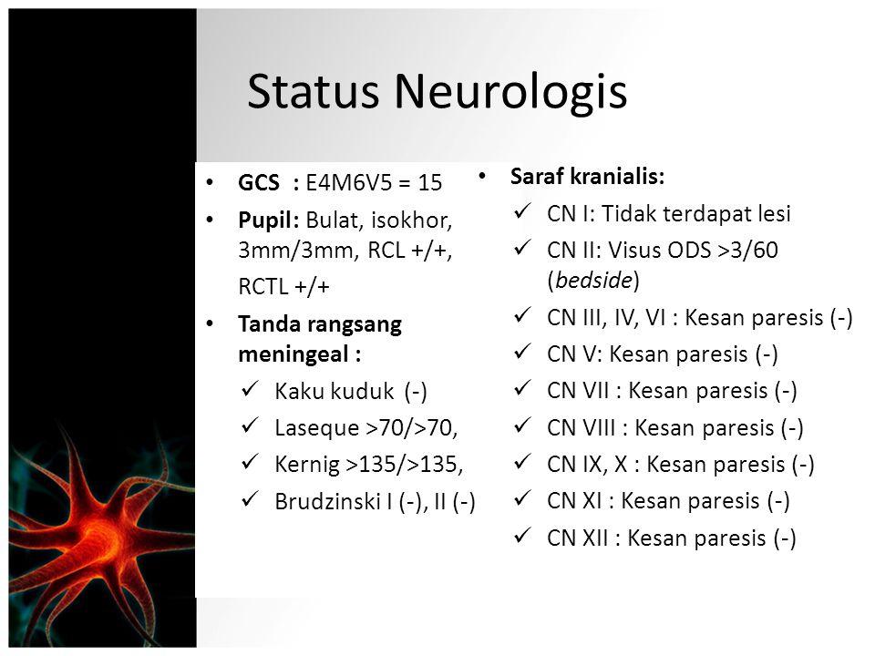 Status Neurologis GCS: E4M6V5 = 15 Pupil: Bulat, isokhor, 3mm/3mm, RCL +/+, RCTL +/+ Tanda rangsang meningeal : Kaku kuduk (-) Laseque >70/>70, Kernig