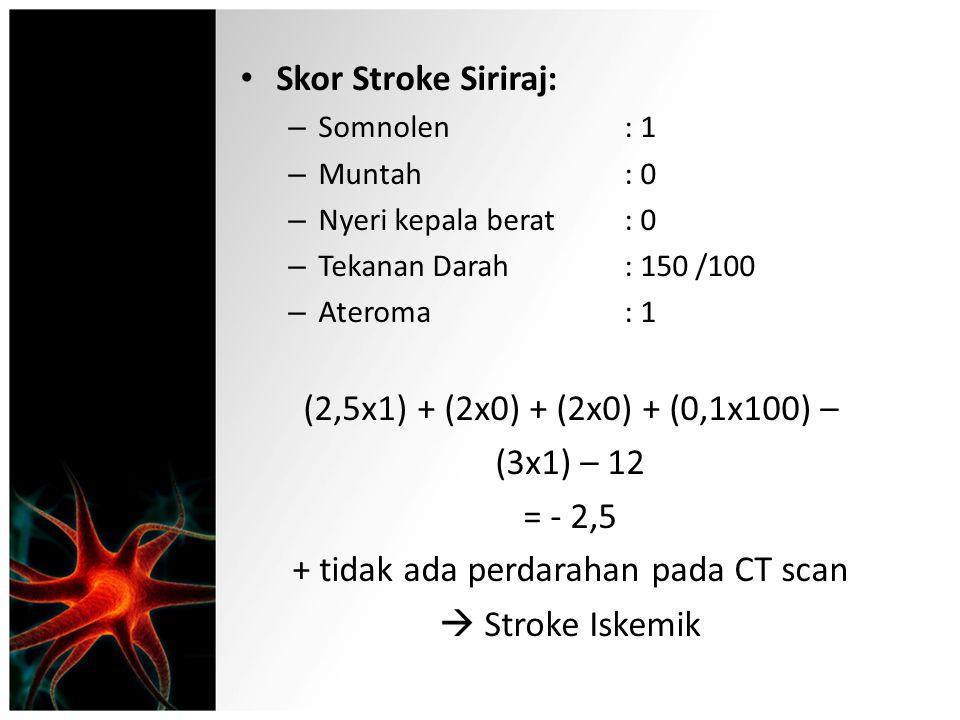 Skor Stroke Siriraj: – Somnolen: 1 – Muntah: 0 – Nyeri kepala berat: 0 – Tekanan Darah: 150 /100 – Ateroma: 1 (2,5x1) + (2x0) + (2x0) + (0,1x100) – (3
