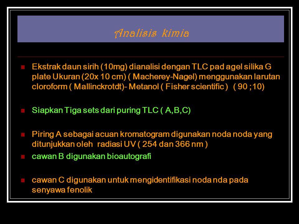 Analisis kimia Ekstrak daun sirih (10mg) dianalisi dengan TLC pad agel silika G plate Ukuran (20x 10 cm) ( Macherey-Nagel) menggunakan larutan cloroform ( Mallinckrotdt)- Metanol ( Fisher scientific ) ( 90 ;10) Siapkan Tiga sets dari puring TLC ( A,B,C) Piring A sebagai acuan kromatogram digunakan noda noda yang ditunjukkan oleh radiasi UV ( 254 dan 366 nm ) cawan B digunakan bioautografi cawan C digunakan untuk mengidentifikasi noda nda pada senyawa fenolik
