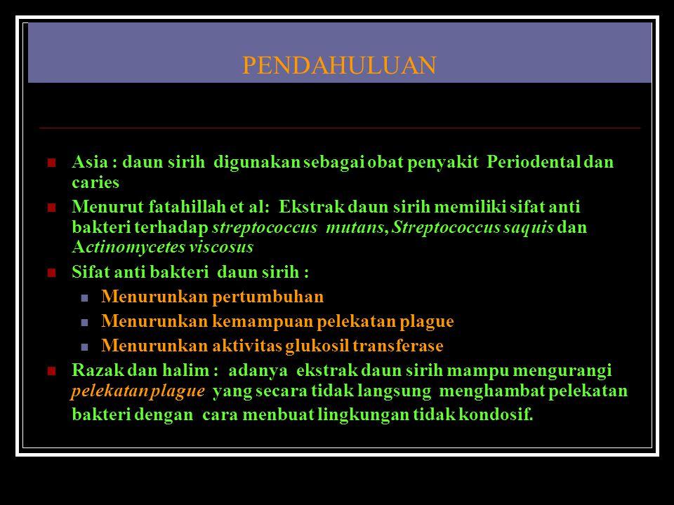 PENDAHULUAN Asia : daun sirih digunakan sebagai obat penyakit Periodental dan caries Menurut fatahillah et al: Ekstrak daun sirih memiliki sifat anti