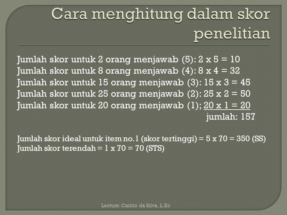 Dalam hubungan teknik pengumpulan data angket, instrumen tersebut dapat disebarkan kepada 70 responden, kemudian direkapitulasi dari 70 responden misalnya: Menjawab(5)= 2 Menjawab(4)= 8 Menjawab(3)= 15 Menjawab(2)= 25 Menjawab (1)= 20 Lecture: Carlito da Silva, L.Ec