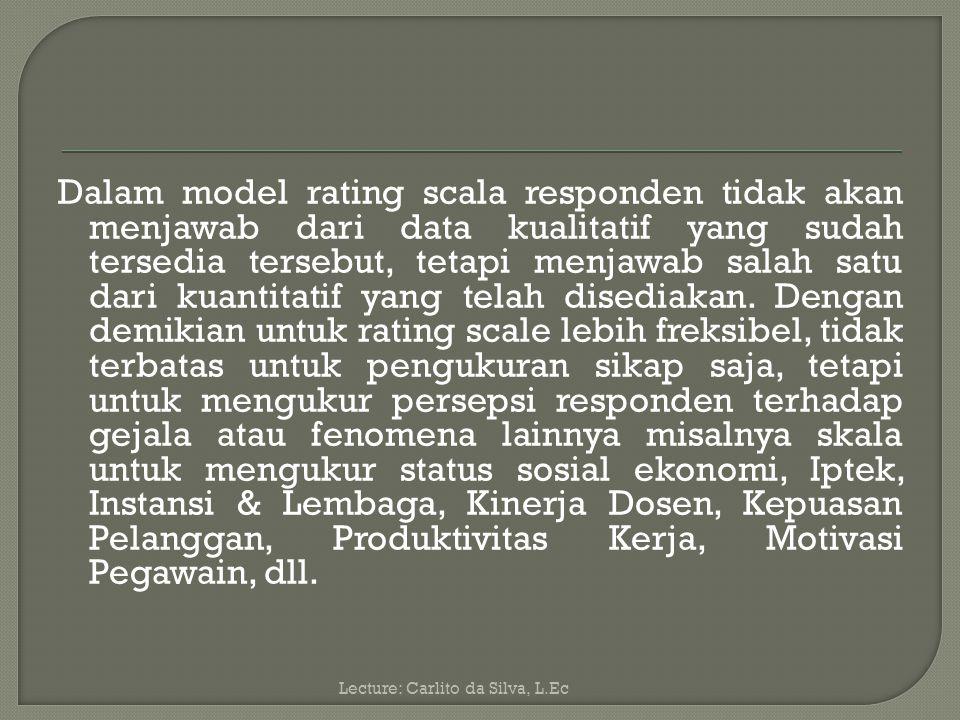Berdasarkan ke-3 pengukuran tersebut, yaitu: skala likert, skala Guttman, skala diferensial sematik, data yang diperoleh adalah data kualitatif yang dikuantitatifkan.