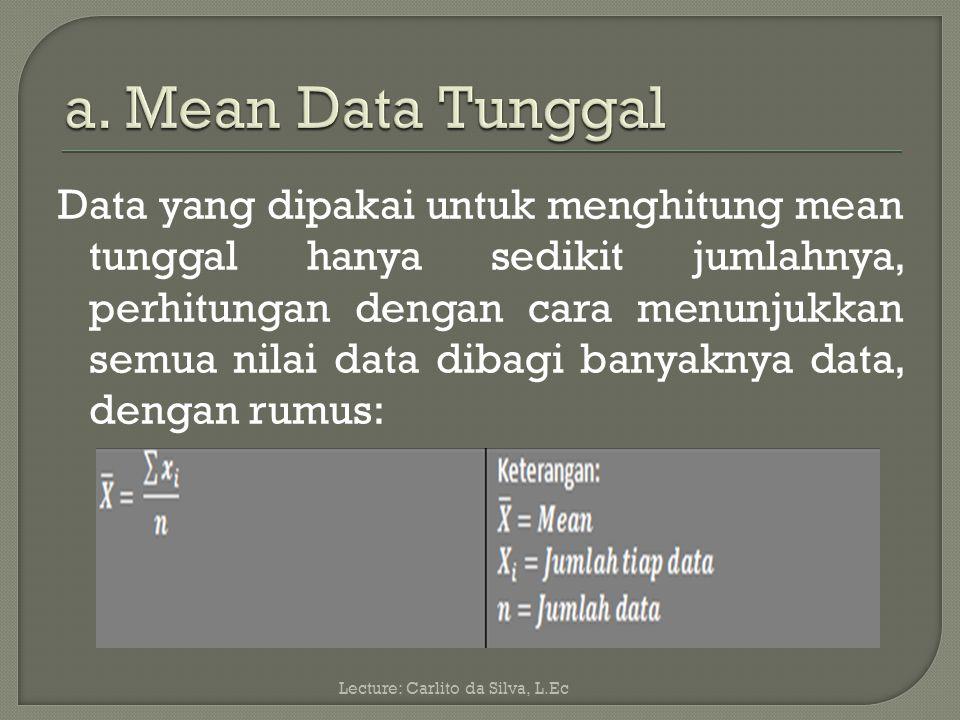 Rata-rata hitung atau disingkat dengan mean.Pengkuran rata-rata hitung sampel bersimbul ( ).