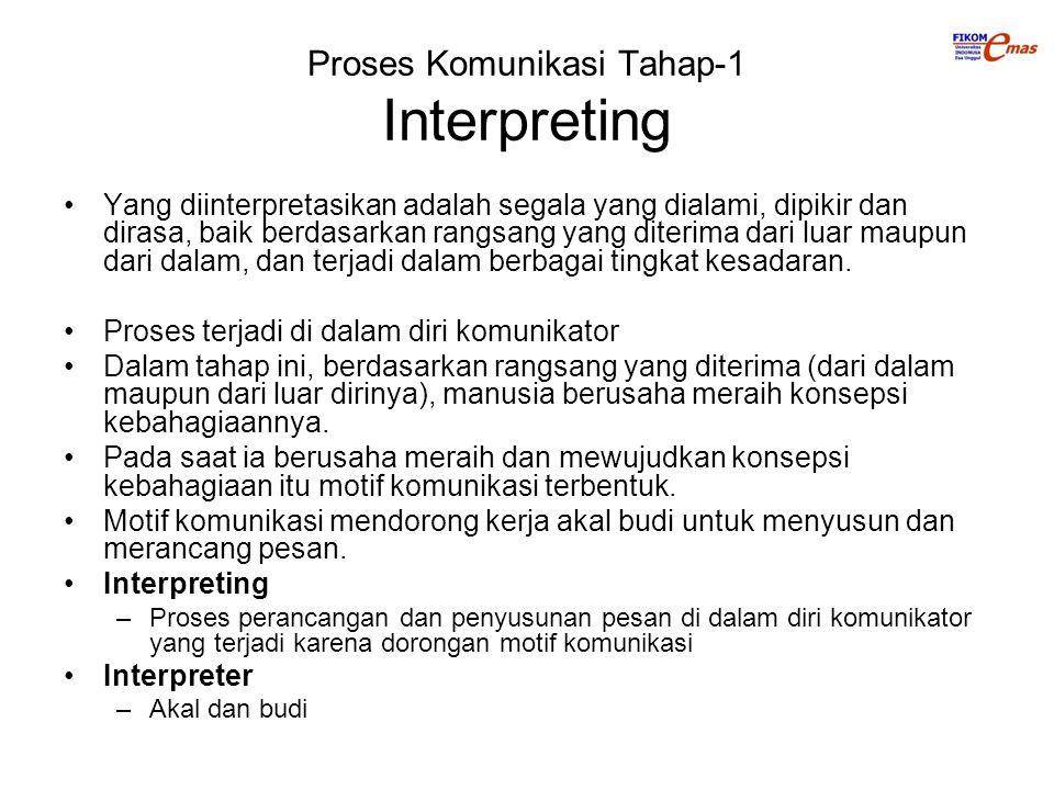 Proses Komunikasi Tahap-1 Interpreting Yang diinterpretasikan adalah segala yang dialami, dipikir dan dirasa, baik berdasarkan rangsang yang diterima