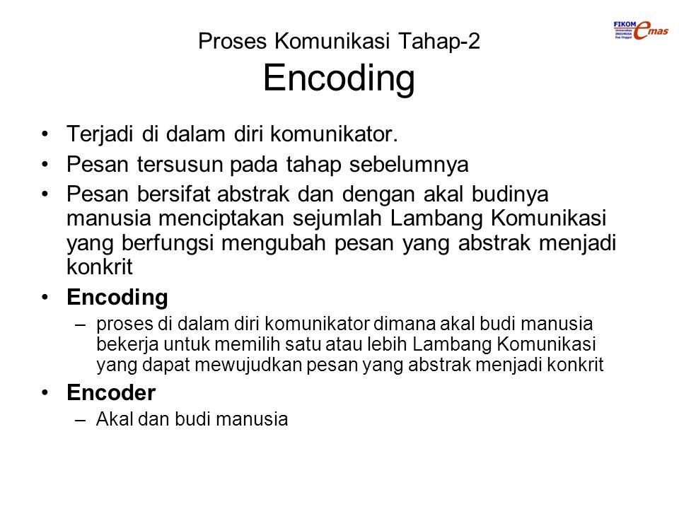 Proses Komunikasi Tahap-2 Encoding Terjadi di dalam diri komunikator. Pesan tersusun pada tahap sebelumnya Pesan bersifat abstrak dan dengan akal budi