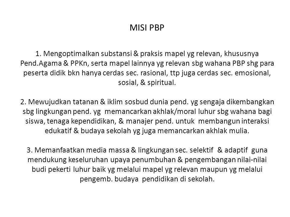MISI PBP 1. Mengoptimalkan substansi & praksis mapel yg relevan, khususnya Pend.Agama & PPKn, serta mapel lainnya yg relevan sbg wahana PBP shg para p