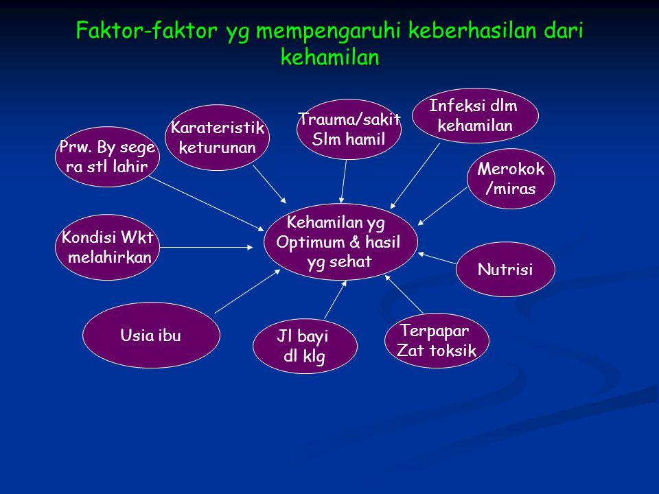 Faktor-faktor yg mempengaruhi keberhasilan dari kehamilan Kehamilan yg Optimum & hasil yg sehat Infeksi dlm kehamilan Merokok /miras Nutrisi Terpapar
