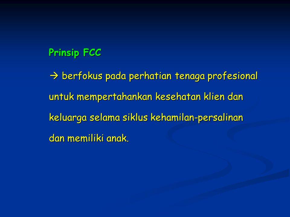Prinsip FCC  berfokus pada perhatian tenaga profesional untuk mempertahankan kesehatan klien dan keluarga selama siklus kehamilan-persalinan dan memiliki anak.