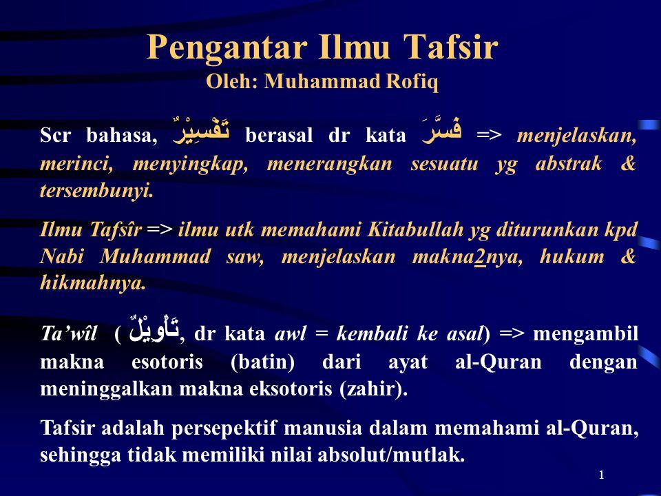 1 Pengantar Ilmu Tafsir Oleh: Muhammad Rofiq تَفْسِيْرٌ Scr bahasa, تَفْسِيْرٌ berasal dr kata فَسَّرَ => menjelaskan, merinci, menyingkap, menerangkan sesuatu yg abstrak & tersembunyi.