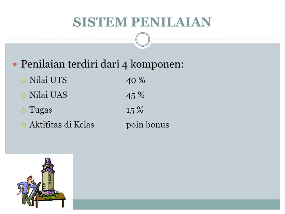 SISTEM PENILAIAN Penilaian terdiri dari 4 komponen:  Nilai UTS40 %  Nilai UAS45 %  Tugas15 %  Aktifitas di Kelaspoin bonus