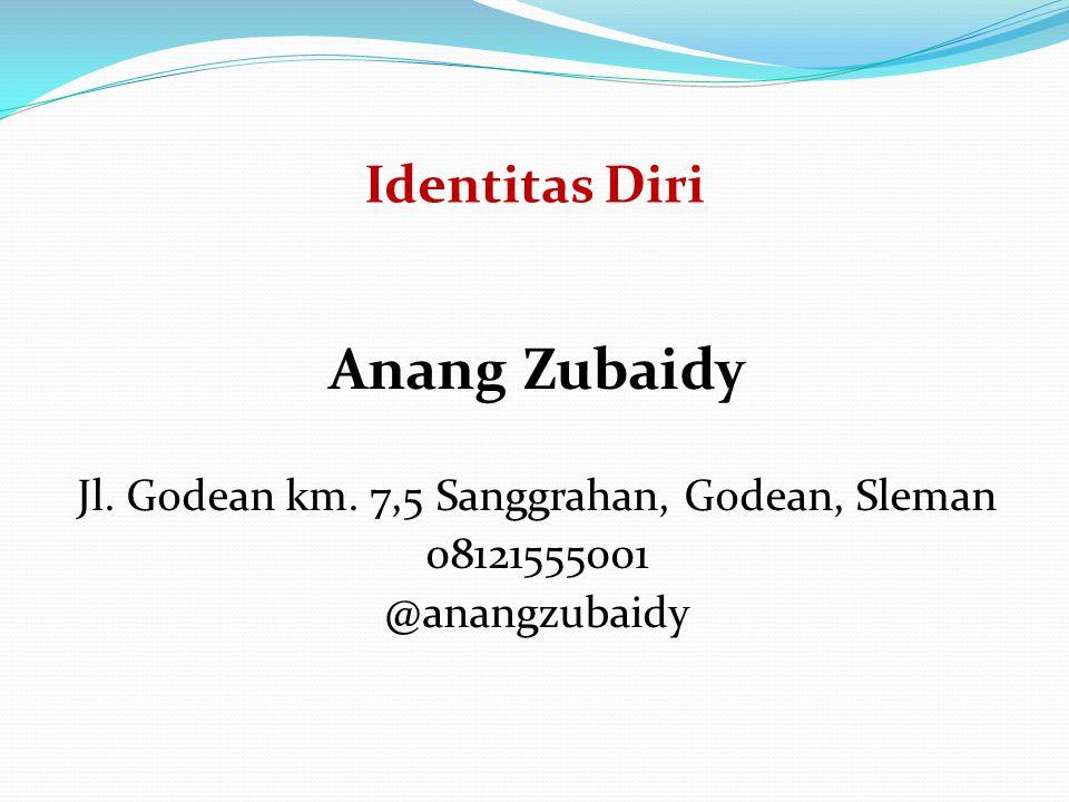 Identitas Diri Anang Zubaidy Jl. Godean km. 7,5 Sanggrahan, Godean, Sleman 08121555001 @anangzubaidy