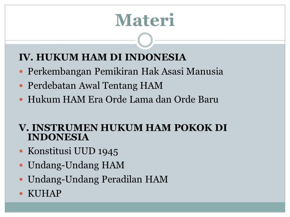 Materi IV. HUKUM HAM DI INDONESIA Perkembangan Pemikiran Hak Asasi Manusia Perdebatan Awal Tentang HAM Hukum HAM Era Orde Lama dan Orde Baru V. INSTRU