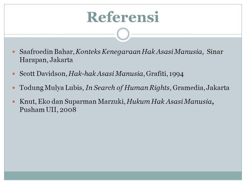 Referensi Saafroedin Bahar, Konteks Kenegaraan Hak Asasi Manusia, Sinar Harapan, Jakarta Scott Davidson, Hak-hak Asasi Manusia, Grafiti, 1994 Todung M