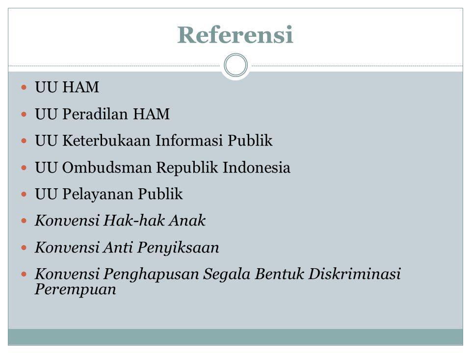 Referensi UU HAM UU Peradilan HAM UU Keterbukaan Informasi Publik UU Ombudsman Republik Indonesia UU Pelayanan Publik Konvensi Hak-hak Anak Konvensi A