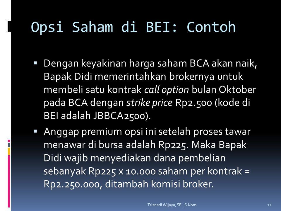Opsi Saham di BEI: Contoh  Dengan keyakinan harga saham BCA akan naik, Bapak Didi memerintahkan brokernya untuk membeli satu kontrak call option bula