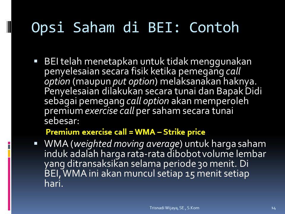 Opsi Saham di BEI: Contoh  BEI telah menetapkan untuk tidak menggunakan penyelesaian secara fisik ketika pemegang call option (maupun put option) mel