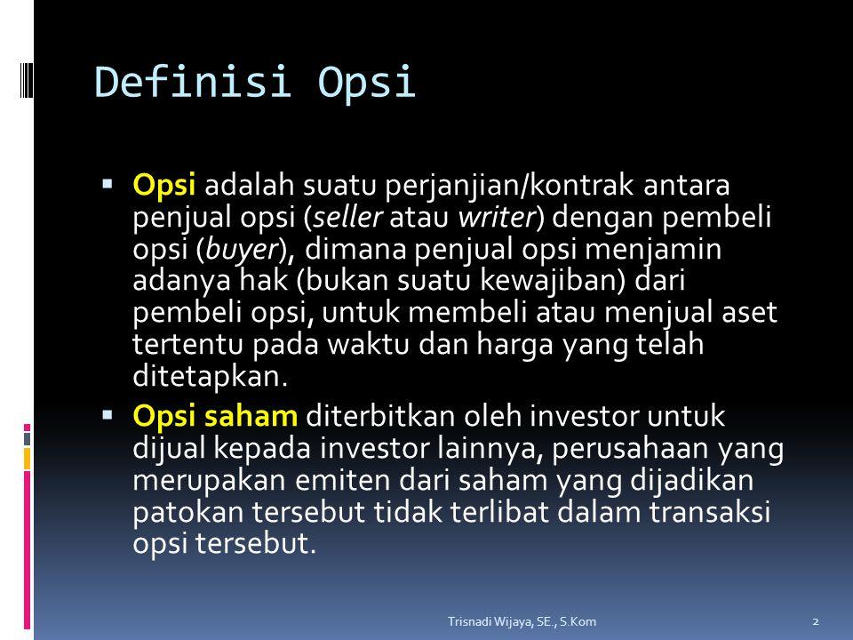 Definisi Opsi  Opsi adalah suatu perjanjian/kontrak antara penjual opsi (seller atau writer) dengan pembeli opsi (buyer), dimana penjual opsi menjami