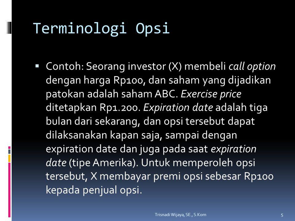 Terminologi Opsi  Contoh: Seorang investor (X) membeli call option dengan harga Rp100, dan saham yang dijadikan patokan adalah saham ABC. Exercise pr