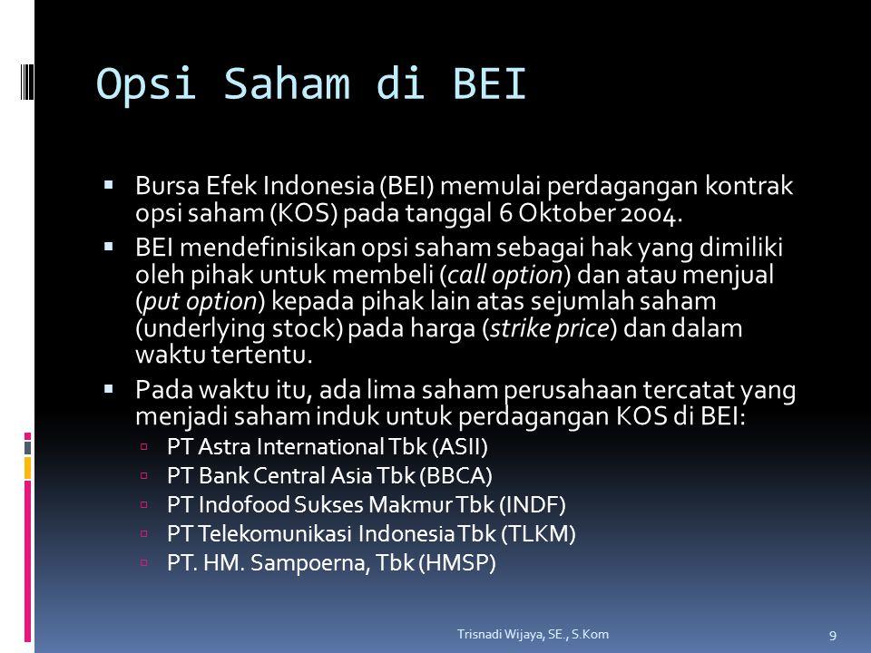 Opsi Saham di BEI  Pembeli (taker) dan penjual (writer) opsi saham mempunyai harapan yang berlawanan mengenai kinerja saham induk dan karenanya juga kinerja opsi.