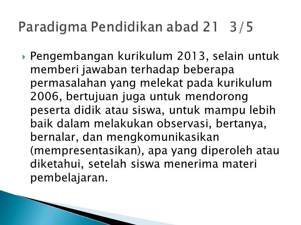  Pengembangan kurikulum 2013, selain untuk memberi jawaban terhadap beberapa permasalahan yang melekat pada kurikulum 2006, bertujuan juga untuk men