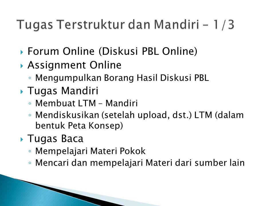  Forum Online (Diskusi PBL Online)  Assignment Online ◦ Mengumpulkan Borang Hasil Diskusi PBL  Tugas Mandiri ◦ Membuat LTM – Mandiri ◦ Mendiskusika
