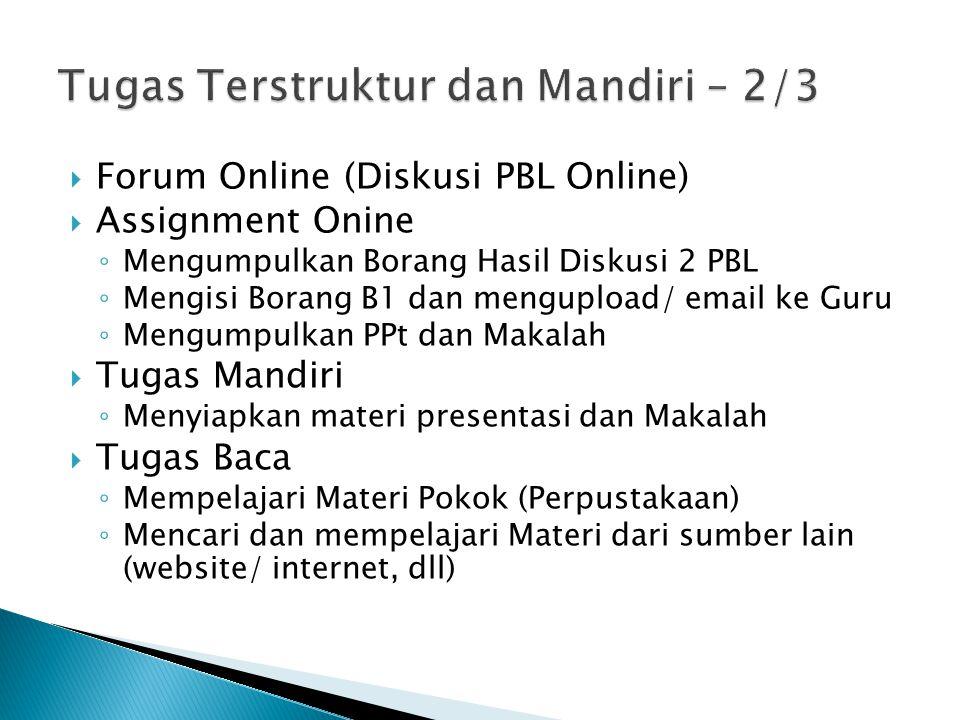  Forum Online (Diskusi PBL Online)  Assignment Onine ◦ Mengumpulkan Borang Hasil Diskusi 2 PBL ◦ Mengisi Borang B1 dan mengupload/ email ke Guru ◦ M