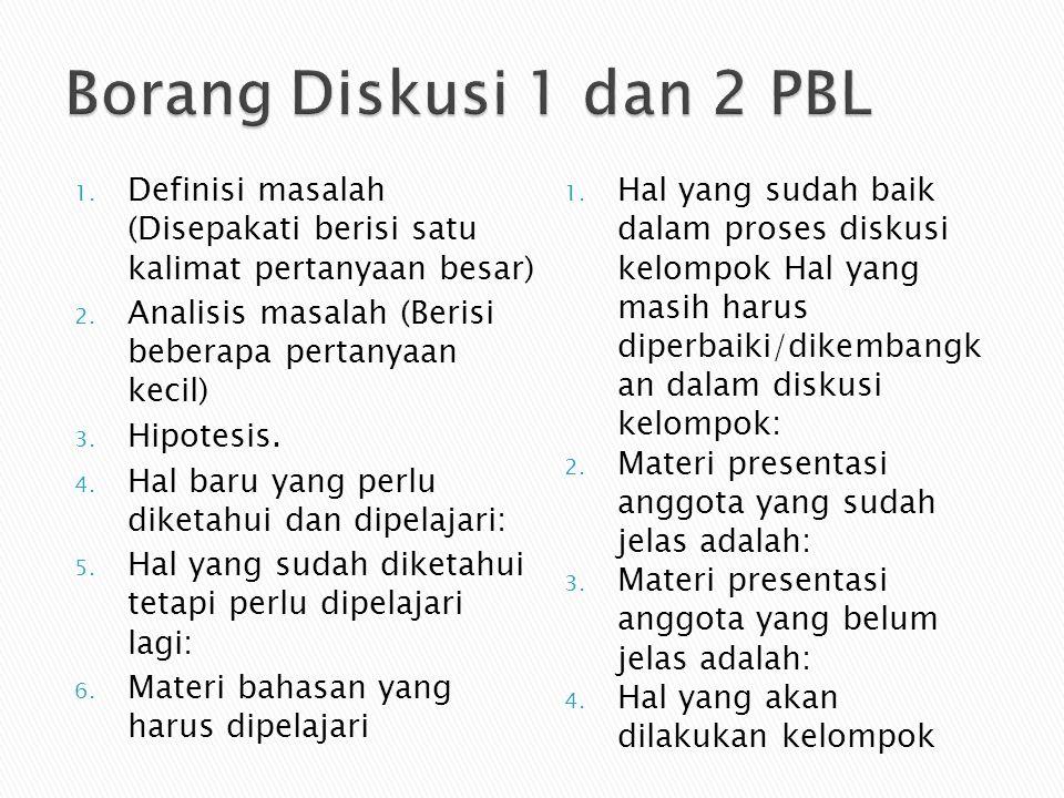 1. Definisi masalah (Disepakati berisi satu kalimat pertanyaan besar) 2. Analisis masalah (Berisi beberapa pertanyaan kecil) 3. Hipotesis. 4. Hal baru