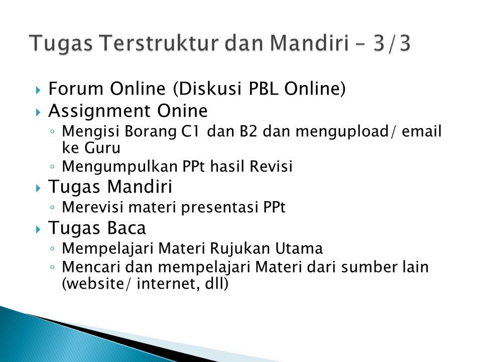  Forum Online (Diskusi PBL Online)  Assignment Onine ◦ Mengisi Borang C1 dan B2 dan mengupload/ email ke Guru ◦ Mengumpulkan PPt hasil Revisi  Tuga