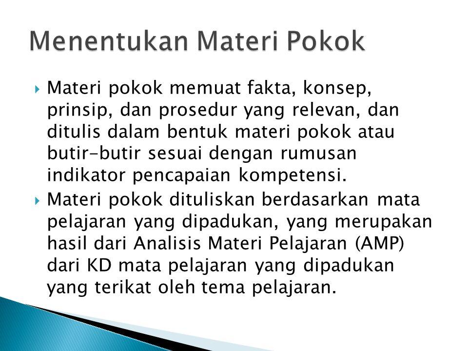  Materi pokok memuat fakta, konsep, prinsip, dan prosedur yang relevan, dan ditulis dalam bentuk materi pokok atau butir-butir sesuai dengan rumusan