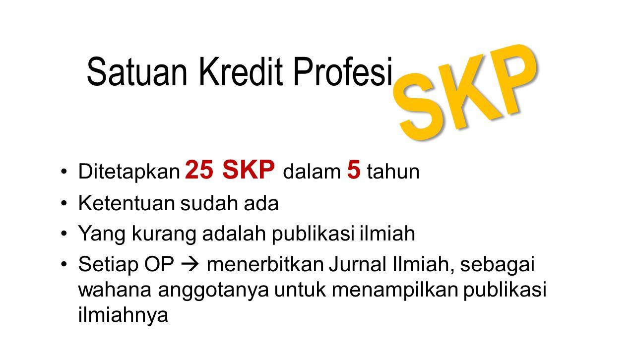 SKP Ditetapkan 25 SKP dalam 5 tahun Ketentuan sudah ada Yang kurang adalah publikasi ilmiah Setiap OP  menerbitkan Jurnal Ilmiah, sebagai wahana angg