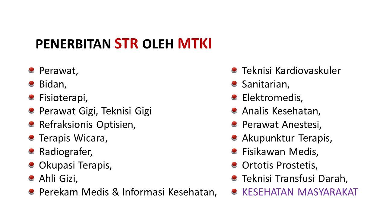 Perawat, Bidan, Fisioterapi, Perawat Gigi, Teknisi Gigi Refraksionis Optisien, Terapis Wicara, Radiografer, Okupasi Terapis, Ahli Gizi, Perekam Medis
