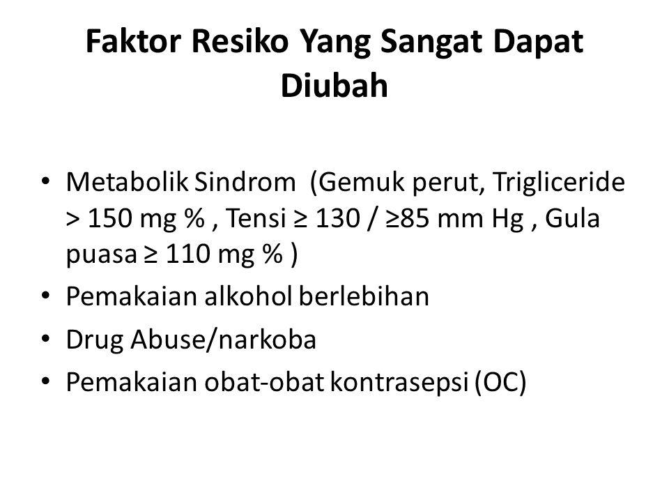 Faktor Resiko Yang Sangat Dapat Diubah Metabolik Sindrom (Gemuk perut, Trigliceride > 150 mg %, Tensi ≥ 130 / ≥85 mm Hg, Gula puasa ≥ 110 mg % ) Pemak
