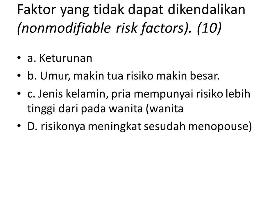 Faktor yang tidak dapat dikendalikan (nonmodifiable risk factors). (10) a. Keturunan b. Umur, makin tua risiko makin besar. c. Jenis kelamin, pria mem