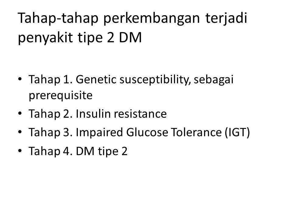 Tahap-tahap perkembangan terjadi penyakit tipe 2 DM Tahap 1. Genetic susceptibility, sebagai prerequisite Tahap 2. Insulin resistance Tahap 3. Impaire