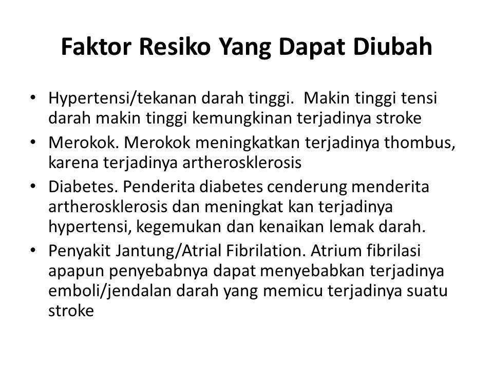 Faktor Resiko Yang Dapat Diubah Hypertensi/tekanan darah tinggi. Makin tinggi tensi darah makin tinggi kemungkinan terjadinya stroke Merokok. Merokok