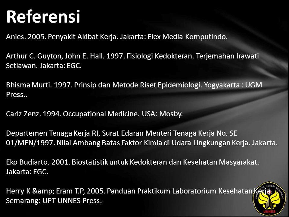 Referensi Anies.2005. Penyakit Akibat Kerja. Jakarta: Elex Media Komputindo.