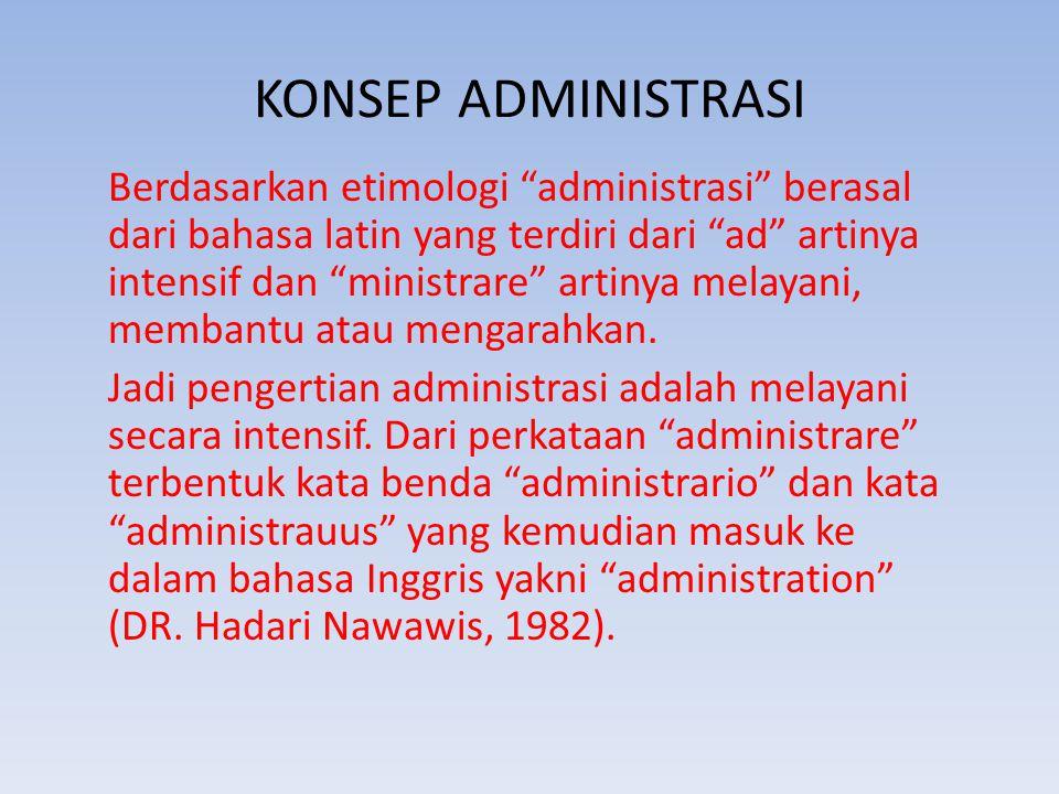 """KONSEP ADMINISTRASI Berdasarkan etimologi """"administrasi"""" berasal dari bahasa latin yang terdiri dari """"ad"""" artinya intensif dan """"ministrare"""" artinya me"""