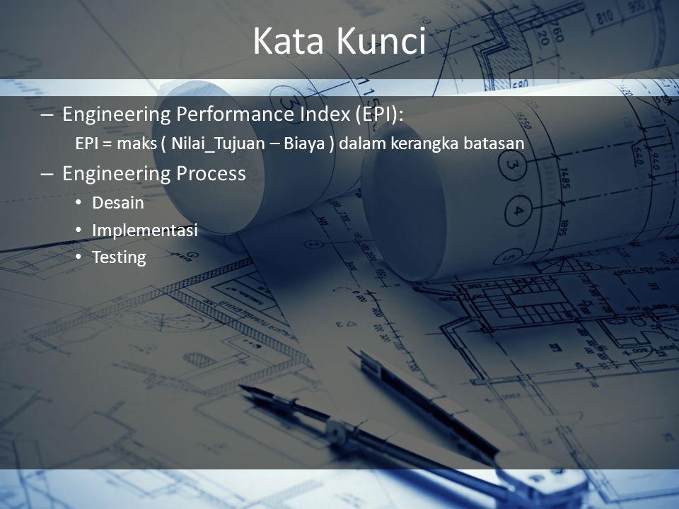 Kata Kunci – Engineering Performance Index (EPI): EPI = maks ( Nilai_Tujuan – Biaya ) dalam kerangka batasan – Engineering Process Desain Implementasi Testing