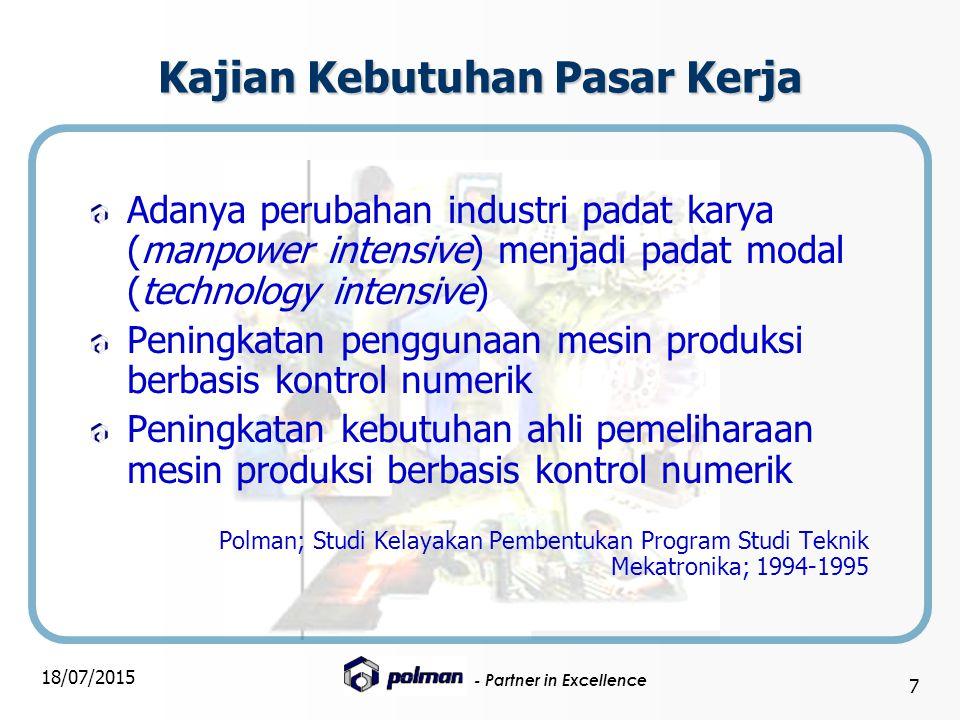 - Partner in Excellence 18/07/2015 7 Kajian Kebutuhan Pasar Kerja Adanya perubahan industri padat karya (manpower intensive) menjadi padat modal (tech