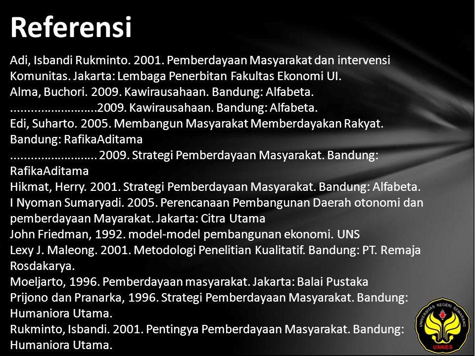 Referensi Adi, Isbandi Rukminto. 2001. Pemberdayaan Masyarakat dan intervensi Komunitas. Jakarta: Lembaga Penerbitan Fakultas Ekonomi UI. Alma, Buchor