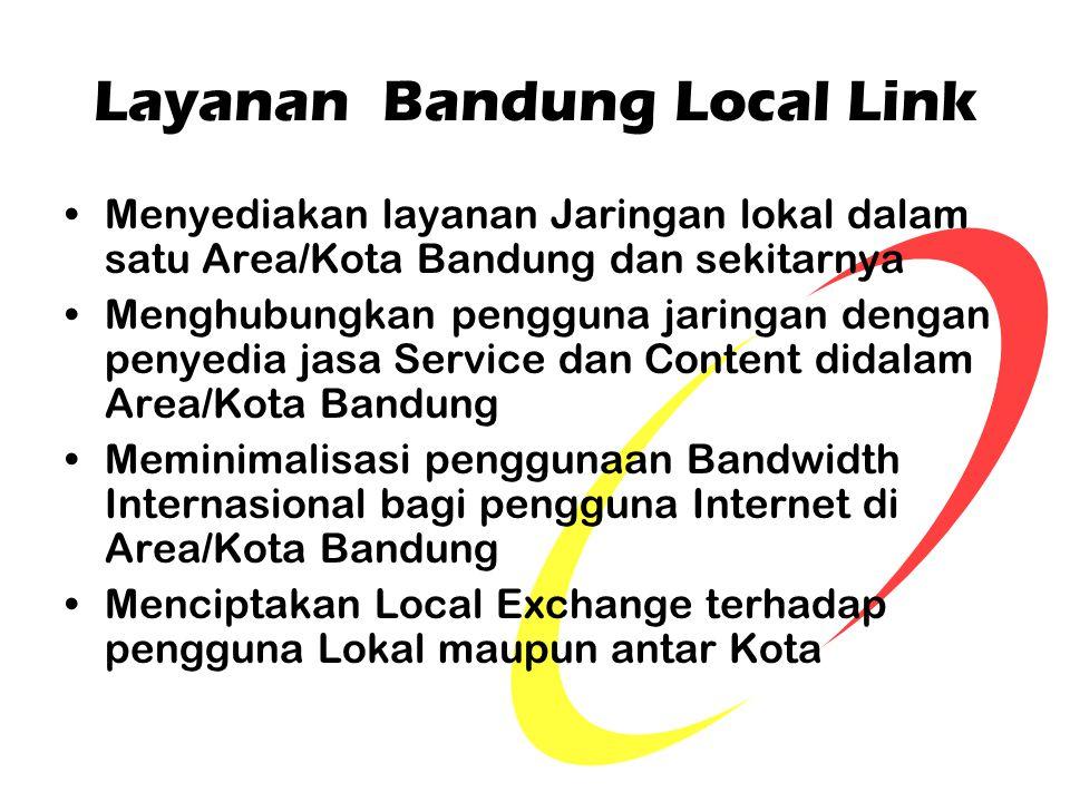 Layanan Bandung Local Link Menyediakan layanan Jaringan lokal dalam satu Area/Kota Bandung dan sekitarnya Menghubungkan pengguna jaringan dengan penye