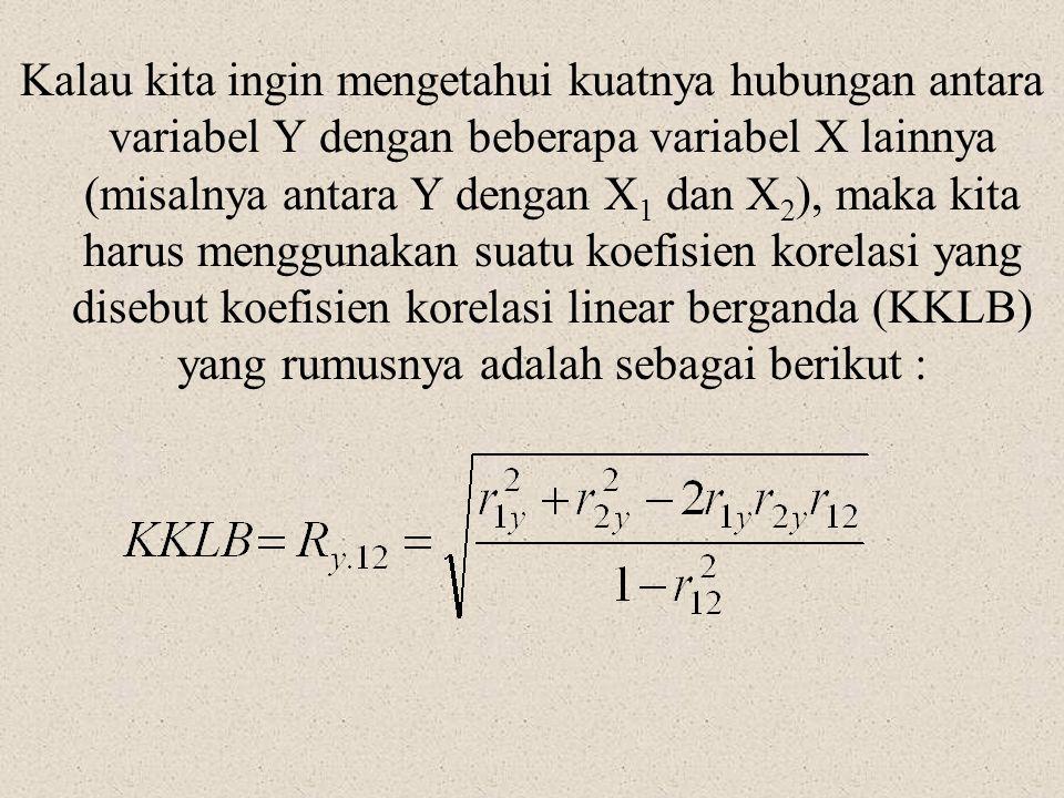 Kalau kita ingin mengetahui kuatnya hubungan antara variabel Y dengan beberapa variabel X lainnya (misalnya antara Y dengan X 1 dan X 2 ), maka kita h