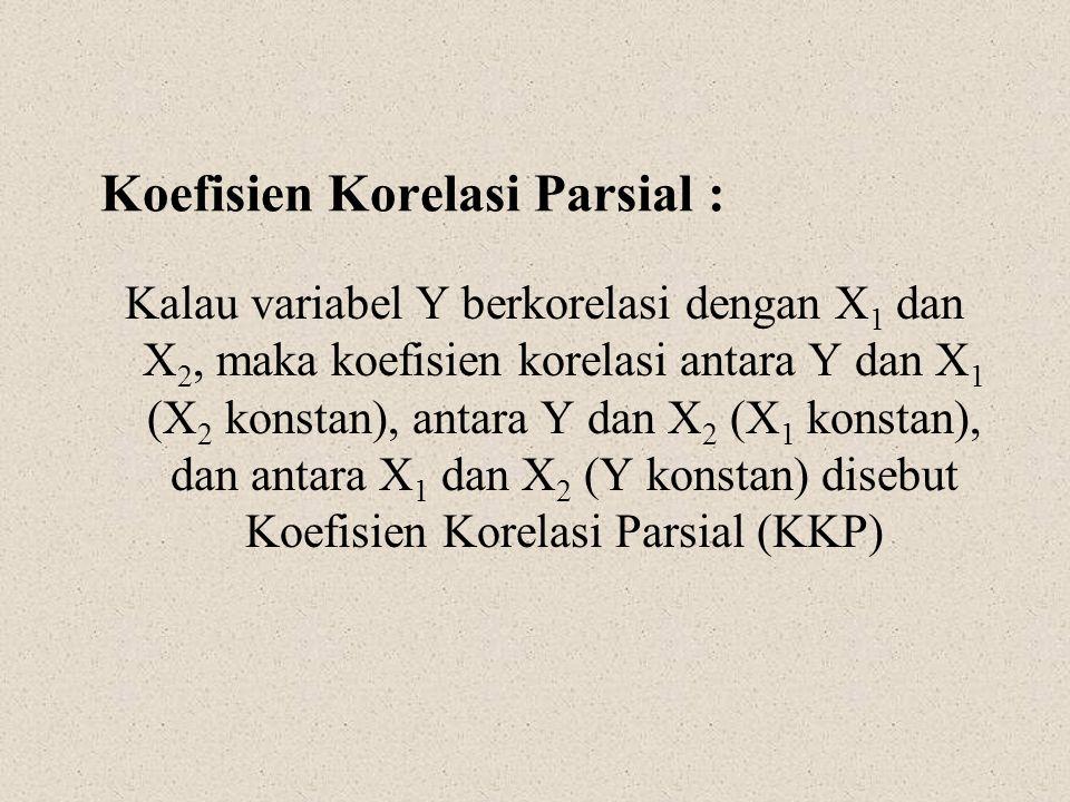Koefisien Korelasi Parsial : Kalau variabel Y berkorelasi dengan X 1 dan X 2, maka koefisien korelasi antara Y dan X 1 (X 2 konstan), antara Y dan X 2