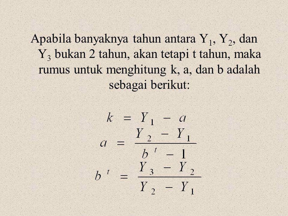 Apabila banyaknya tahun antara Y 1, Y 2, dan Y 3 bukan 2 tahun, akan tetapi t tahun, maka rumus untuk menghitung k, a, dan b adalah sebagai berikut: