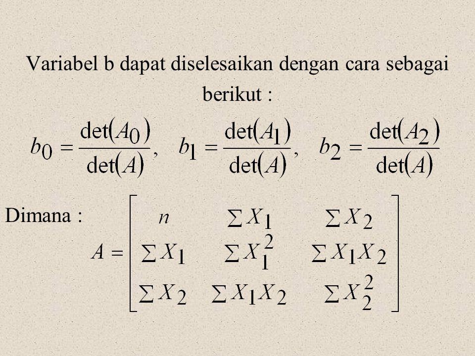 Variabel b dapat diselesaikan dengan cara sebagai berikut : Dimana :