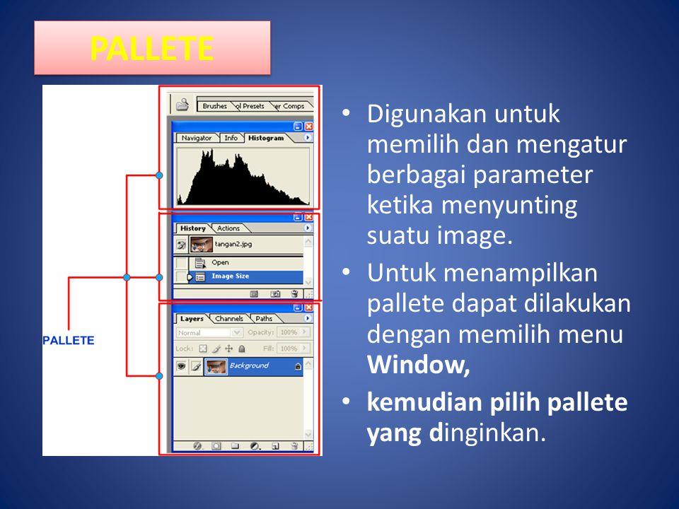 PALLETE Digunakan untuk memilih dan mengatur berbagai parameter ketika menyunting suatu image. Untuk menampilkan pallete dapat dilakukan dengan memili